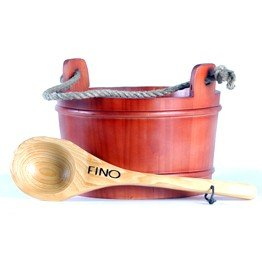 Red Bucket and Ladle for Saunas