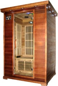 Canadian Red Cedar Carbon Fiber FIR Infared Sauna, 2 Two Person, with 2 Free Bathrobes