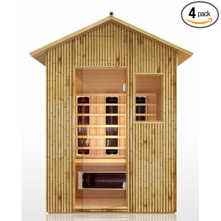 3 Person Sauna Outdoor Weather Resistant Bamboo Spa - FAR Infrared 7 Ceramic Heaters Outside Patio