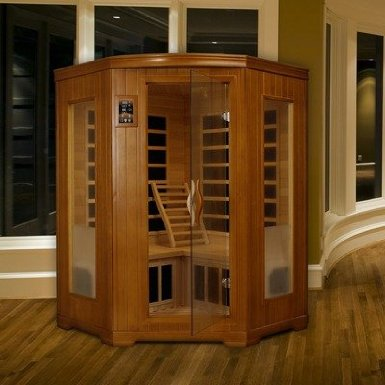 """Grand"" 2-3 Person Corner Carbon Sauna / Honey Stain"